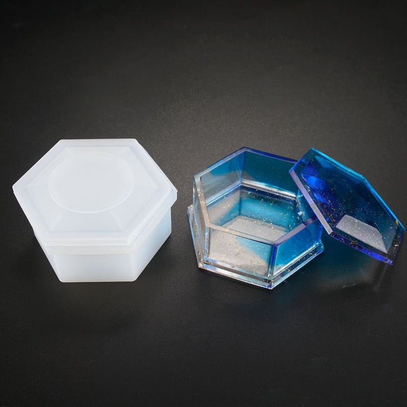 Storage box Hexagon shape Resin Silicone Mould Jewelry Making DIY tool UV epoxy resin Box silicone mold