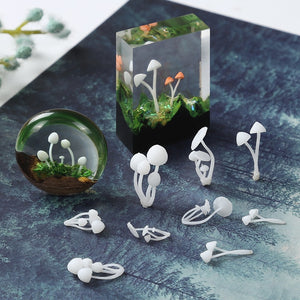 3pcs/lot 3D Micro Mushroom  Landscape Mini DIY Craft Handmade Resin Jewelry UV Epoxy Jewerly Filling Molds Figurines Decoration