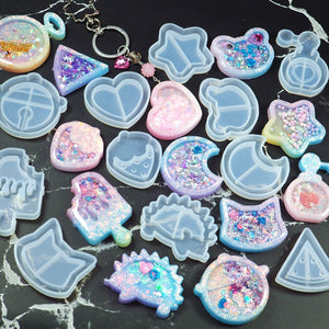 Hot Shaker Silicone Molds Epoxy Resin Bear Star Popsicle Shaker mold Key Chain Charms Shiny Mold DIY Jewelry Craft Tool