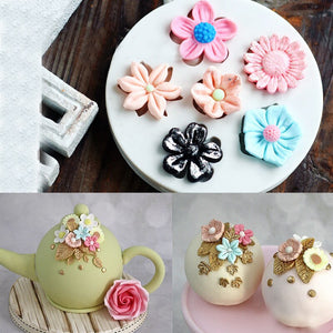 Sunflower Rose Flowers Shape Silicone Mold Cake Border DIY Decoration Chocolate Sugar Craft Polymer Clay Crafts  3D Mould Tools