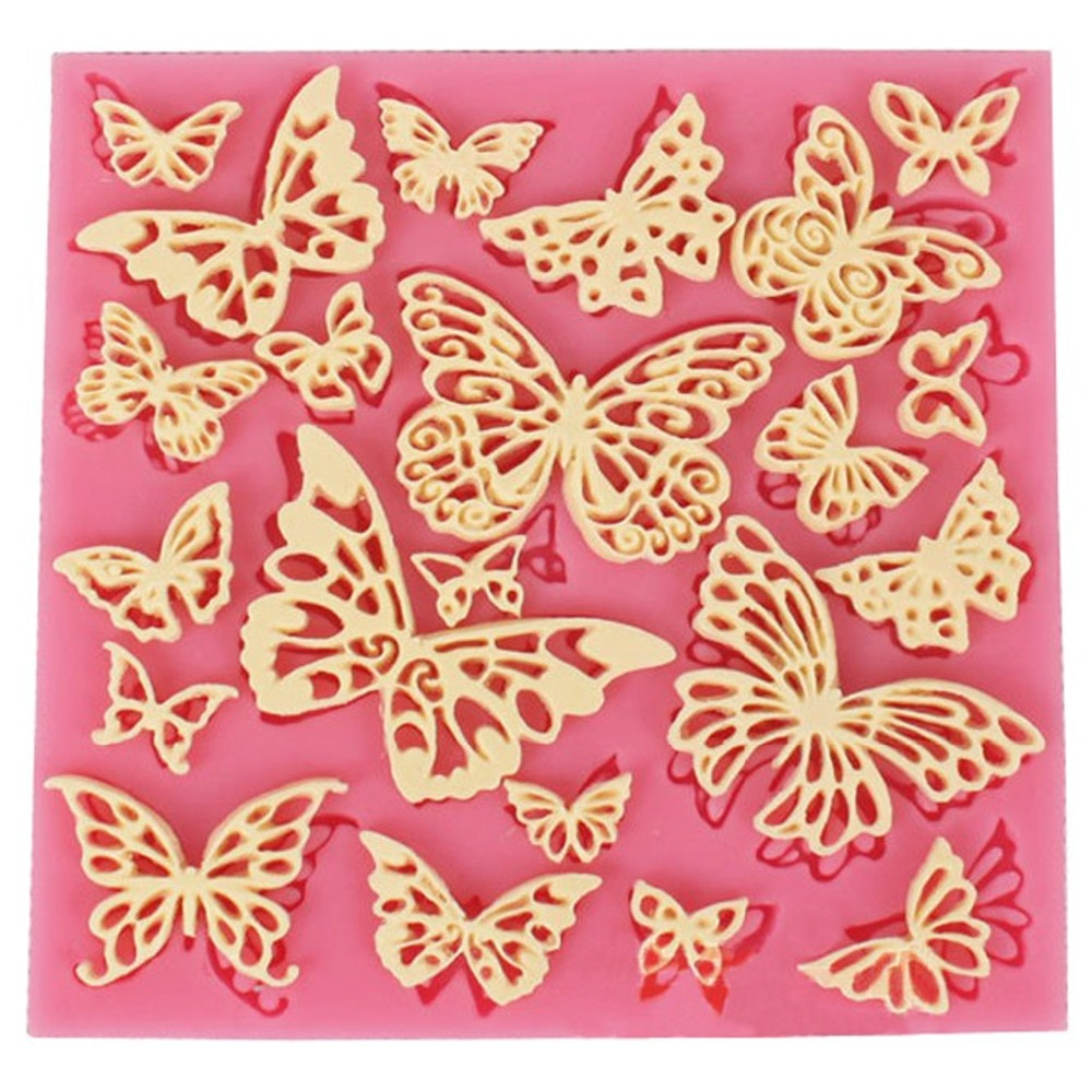 DIY Flower Butterfly Silicone Lace Mat Cupcake Fondant Molds Gumpaste Chocolate Moulds Sugarcraft Cake Decorating Tools CT684