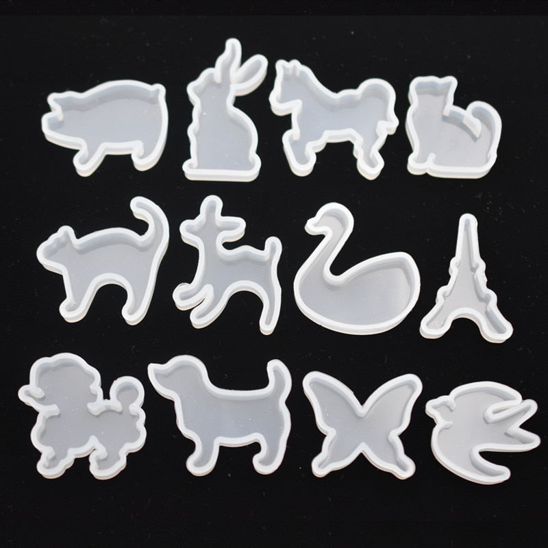 12pieces Silicone Mold for jewelry cute animals cat rabbit deer horse Resin Silicone Mould handmade epoxy resin molds