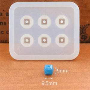 Silicone Mold for jewelry 9mm12mm16mm Cube ball beads with hole 6 compartment epoxy Resin Silicone Mould handmade Craft