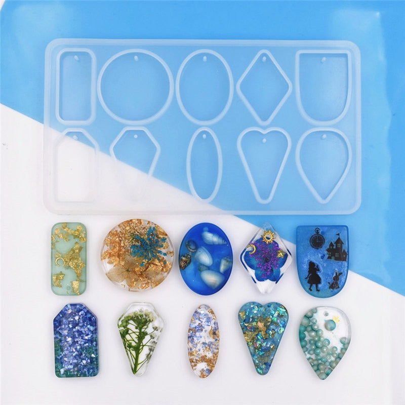 1 PC Silicone mold jewelry pendant with hole Resin Mould