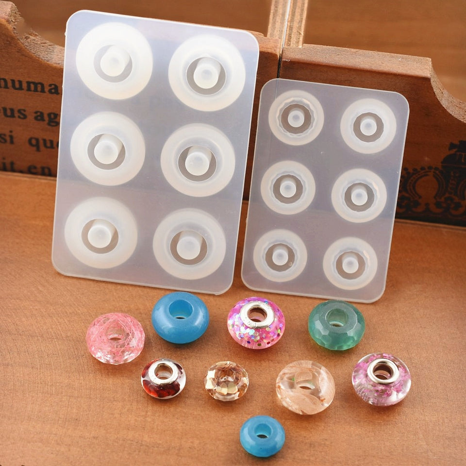 Silicone Mold for jewelry making 12mm 16mm flat ball beads with hole epoxy Resin Silicone Mould handmade Craft  diy