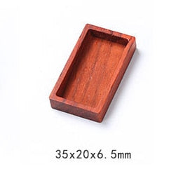 DIY material crystal epoxy resin mold rectangular round triangle jewelry pendant Accessories red pear solid wood frame