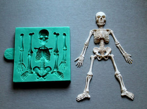 Skeleton Halloween Skeleton Body Fondant Mold Silicone Cake Decoration Handmade Clay Resin Cake Tools Moulds PRZY 001 Radom
