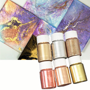 6 Colors 10g Mirror Marble Metallic Resin Pigment Kit Pearl Powder Epoxy Resin Colorant Glitter Resin Dye Jewelry Making