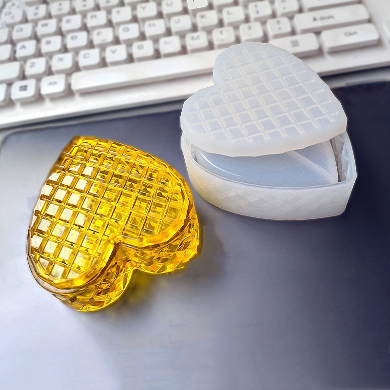 Storage box heart shape Biscuits surface Resin Silicone Mould Jewelry Making DIY tool UV epoxy resin Box silicone mold