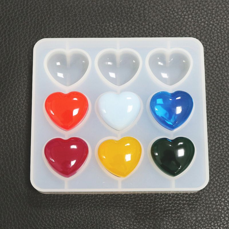 Epoxy Mold Resin DIY Crystal 9 Hole Heart Shape Silicone Mold For Resin High Mirror Pendant Handmade Jewelry Tools Making Molds
