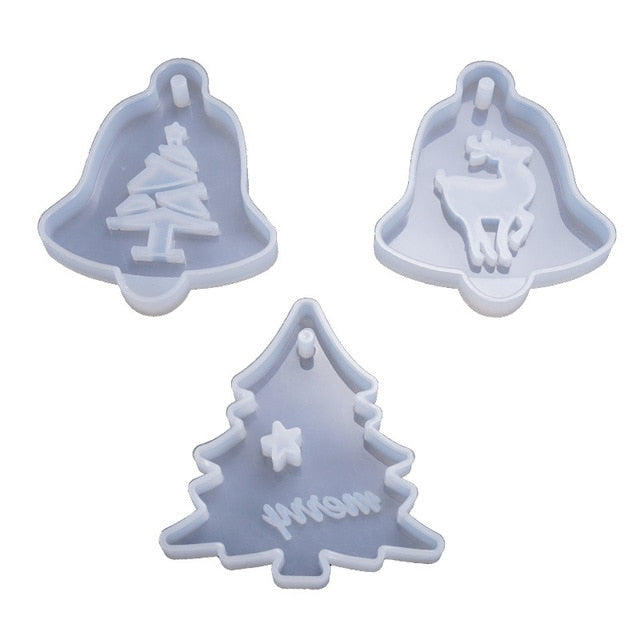 DIY Crystal Epoxy Resin Mold Listed Christmas Tree Elk Pendant