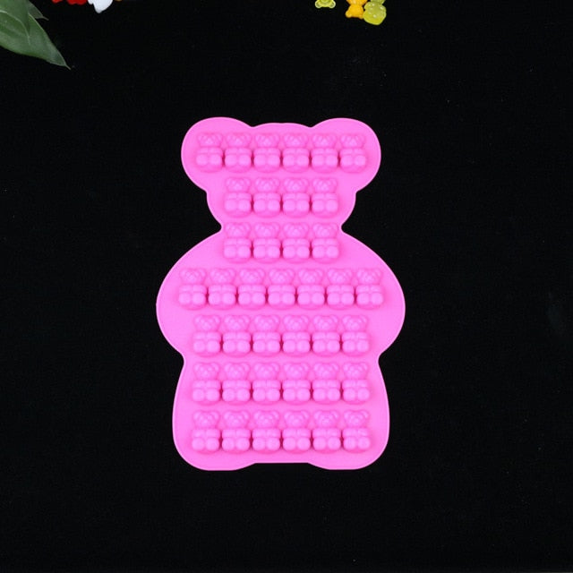 Diy Mirror Bear Gummy Crystal Epoxy Silicone Mold Baking Cake Dessert Bear Ice Cube Mould Jewelry Making