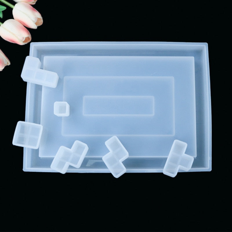DIY Tetris Mold Crystal Epoxy Resin Mold Mirror Handmade Creative Silicone mold For Resin Table decoration mold