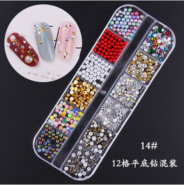 Star Month Hollow Gold Silver Nail Rhinestones Stones Metal Jewelry 3D Nail Art Decoration Nail Art Designs