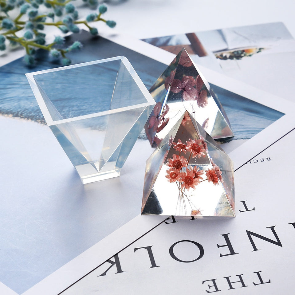 Highly transparent Pyramid silicone mold DIY mirror full transparent liquid energy tower mold crystal epoxy Resin mold
