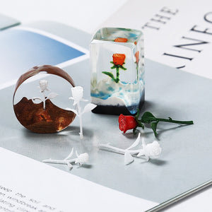 3Pcs Handmade DIY Crystal Dipping Little Prince Jewelry Forest Micro-landscape Filler 3D Mini Rose Model