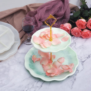 DIY Two-layer Fruit Tray Resin Mold Three-dimensional Lace Tea Tray Silicone Mold Tray Coaster Resin Epoxy Mold