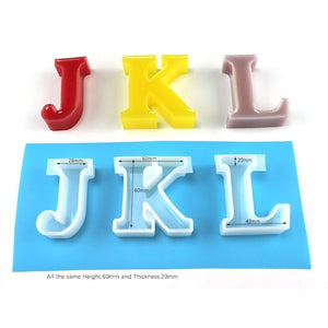 "6cm/2.4"" Large English Letter Handmade Mold Resin Word Sign Mold Alphabet Silicone Resin Casting Molds DIY Resin Project"