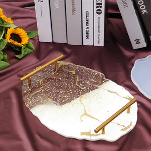 DIY Crystal Epoxy Resin Mold Big Set Table Tea Cup Pad Tea Tray Holder Silicone Mold Mirror Epoxy Mold