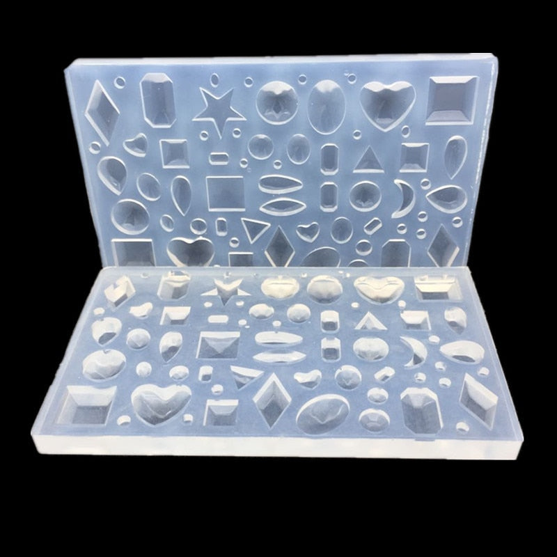 DIY mirror jewelry crystal Epoxy resin mold love geometry moon variety gemstone pendant mold