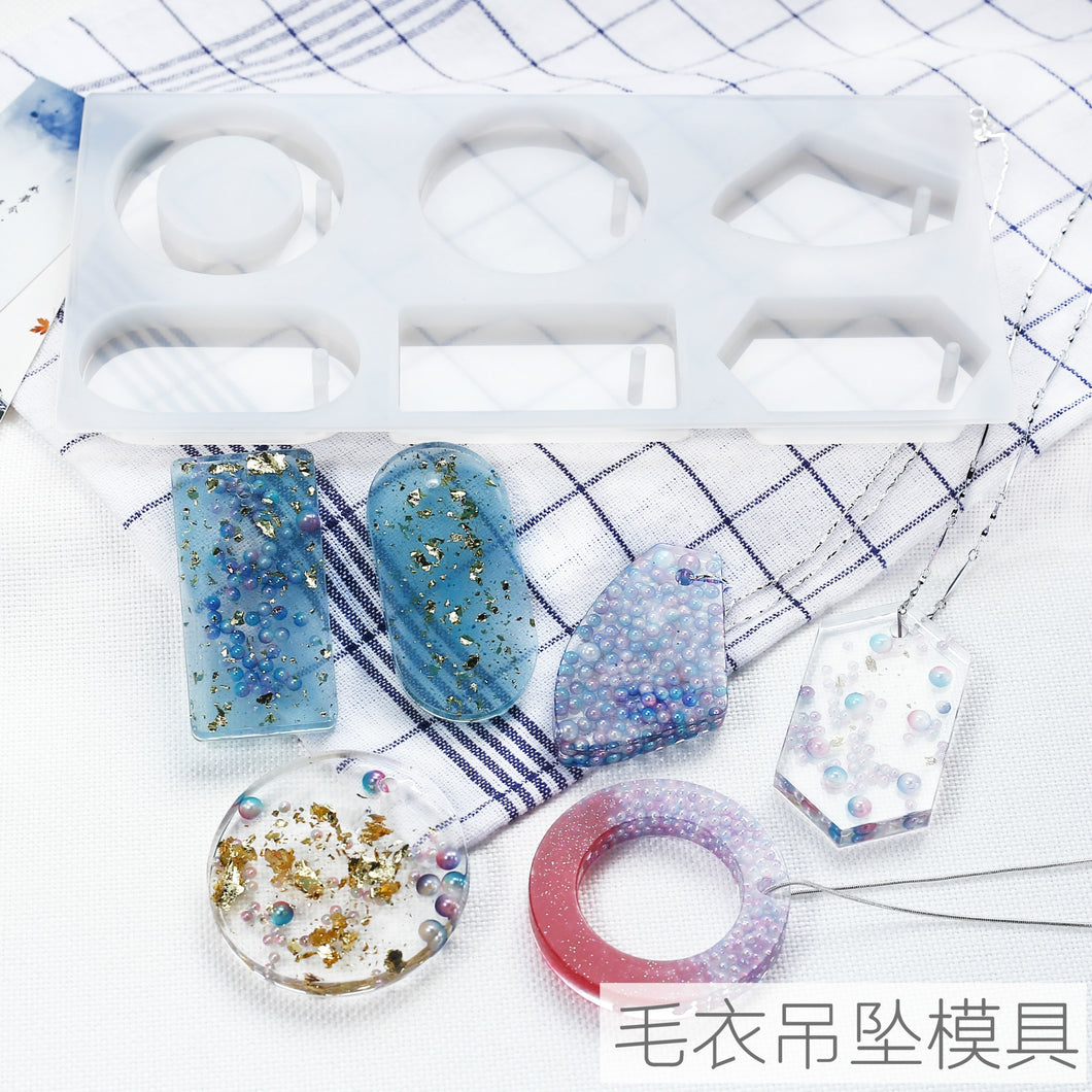 DIY Resin Mold Pendant with hole mold dry flower geometry rectangular round hanging decoration silicone mold