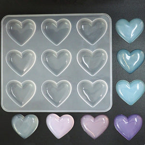 Diy crystal Epoxy 9 love heart shaped Resin mold silicone mirror pendant handmade aromatherapy plaster decoration table mold