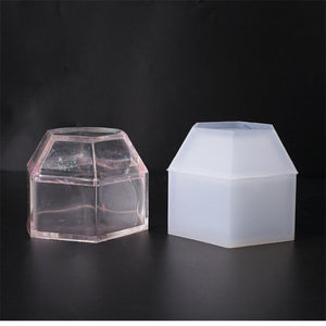 DIY crystal epoxy Resin mold jewelry storage box mold hexagon storage box mold