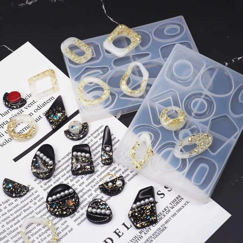 DIY Crystal Resin Mold Geometric Irregular Earring Mold Traditional 6 Lattice Necklace Pendant Earring Jewelry Mold