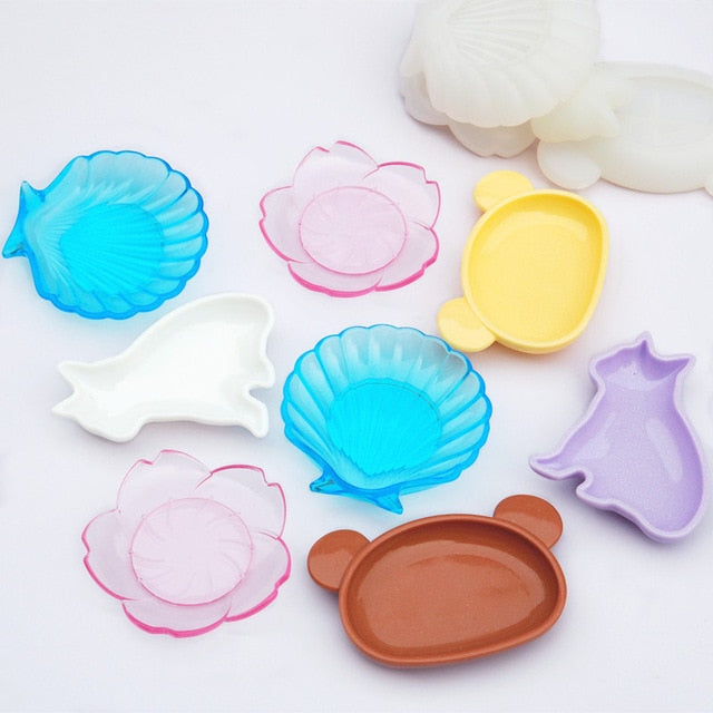 DIY Dish Resin Mold Crystal Epoxy Resin Mirror Dog Bear Flower Shell Plate Mold Cute Dish Plate Silicone Mold