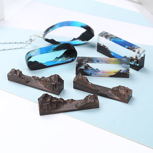 Handmade DIY Crystal Epoxy Resin Mold Couples Gifts Oaths Mountain Peaks Landscape Mold Solid Wood Bracelet Pendant Mold