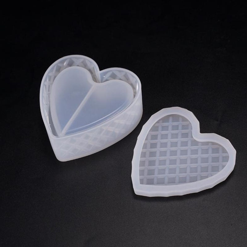 High Quality DIY crystal Epoxy Resin mold Storage box mold heart-shaped cut Mold jewelry Making Tools gift box