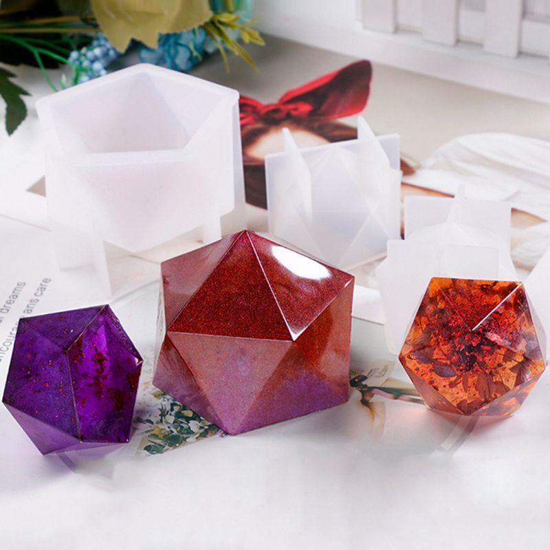 New Crystal Epoxy Mold Desktop Table Decoration Jewelry Large Multi-faceted High Mirror Silicone Mold For Resin