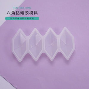 DIY Diamond Resin Mould Four Hexagon Diamond Crystal Epoxy Mould Decoration Pendant Pendant Mirror Silicone Mold Jewelry Making