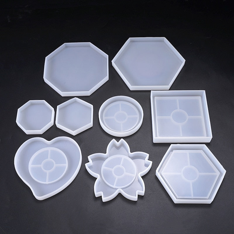 Silicone Mold DIY Cup Mat Pad Handmade Molds Crafts Epoxy Resin Mold Geometric Shape Hexagonal Square Round Thermal Insulation