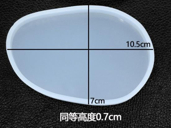 DIY Crystal Epoxy Resin Mold Silicone Mirror Irregular Ellipse Handmade Table Mold Mirror Pendant Coaster Mat Mold