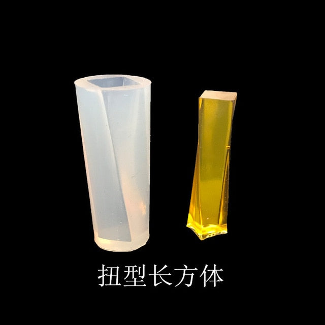 Crystal Epoxy Pendant Silicone Mold DIY Handmade Ornaments Long Barrel Trapezoidal Crystal Mold