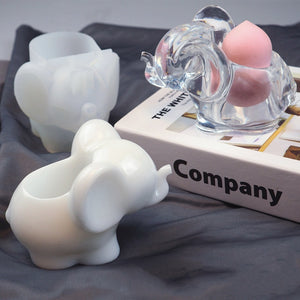 DIY Elephant Resin Mold Epoxy Mirror Three-dimensional Elephant Makeup Egg Storage Silicone Mold