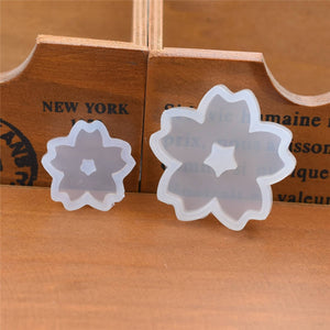 2pieces Silicone Mold for jewelry Cherry blossoms hole in middle Resin Silicone Mould handmade   Resin  epoxy resin molds