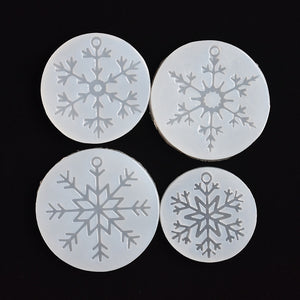 4pieces Silicone Mold for jewelry snowflake charms pendant Resin Silicone Mould  handmade tool  epoxy resin molds