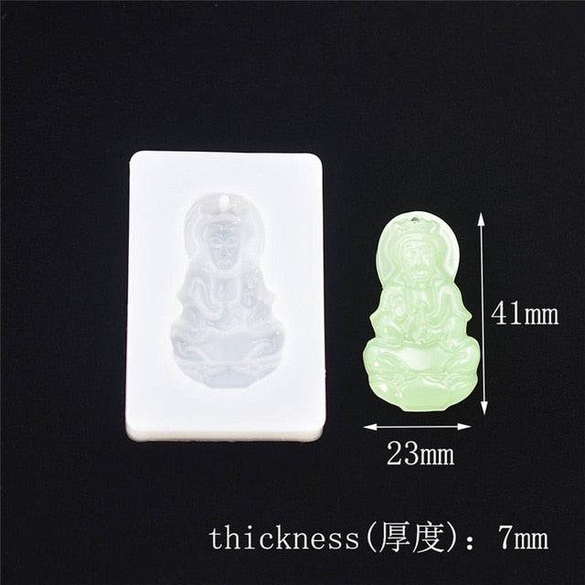 Guanyin buddha pendant with hole Silicone Mold Resin Silicone Mould Jewelry Making geometry molds Square Round