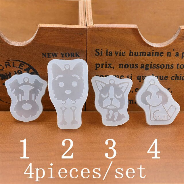 Silicone Mold for jewelry dog with hole charms pendant Resin Silicone Mould  handmade tool  epoxy resin molds