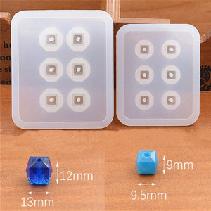 2pieces Silicone Mold for jewelry 9mm12mm16mm Cube ball beads with hole 6 compartment epoxy Resin Silicone Mould handmade