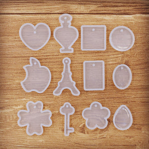 neclace pendant with hole Resin Silicone Mould handmade tool  epoxy resin molds Square tower round key clover
