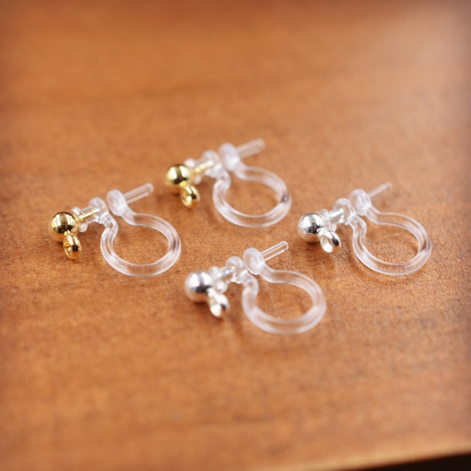 10pieces 5pairs Small invisible resin earring clip , No pierced dangle invisible clip on earrings finding