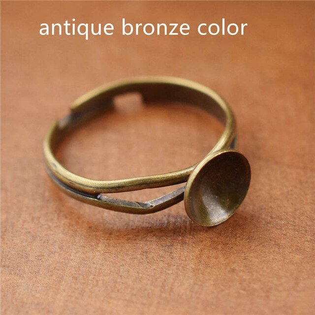 10pieces Adjustable 8mm copper ring setting base jewelry findings accessries charms bronze gold silver color