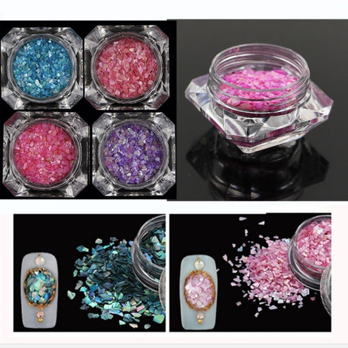 3 boxes Irregular shape tiny shell fragments powder beads for glass globe silicon mold filler charms