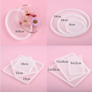 Round Square Rectangle Shape Coaster Base Silicone Mold Resin Molds
