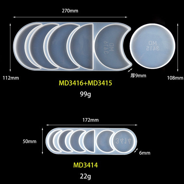 Lunar Eclipse Silicone Mould Resin Casting Epoxy Moon Planet Art DIY Supplies