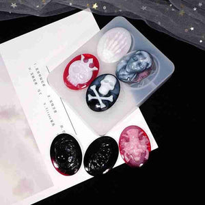 1pc Resin Mold Coaster Skeleton Spider Holloween Silicone Mold Keychain Hanger Diy Crystal Pendant Mold Mold Coaster