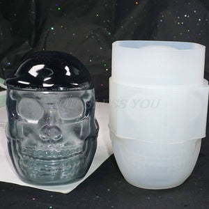 Skull Ashtray Trinket Box Container Casting Silicone Mould DIY Crafts